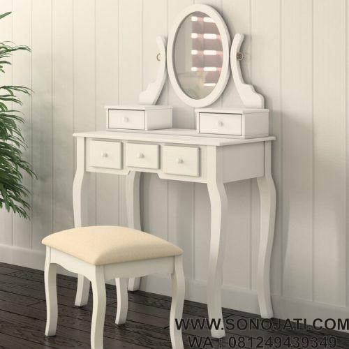 Set Meja Rias Minimalis Modern Kayu Zeke dengan Cermin