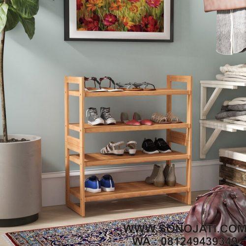 Rak Sepatu Stackable 4 Tingkat 12 Tingkat