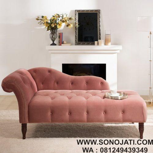 Kursi Malas Minimalis Tufted Chaise Lounge