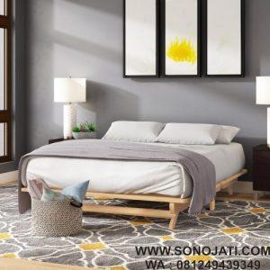 Tempat Tidur Minimalis Jati Evie