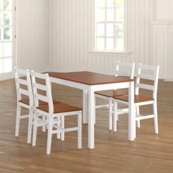 Set Meja Makan Jati Putih Duco Minimalis Yedinak