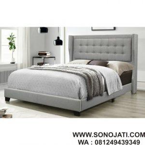 Tempat Tidur Kayu Minimalis Keya Upholstered