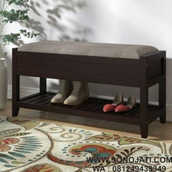 Bangku Kayu Jati Minimalis Natural Lambrecht Upholstered