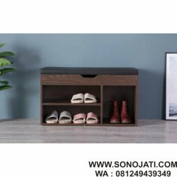 Bangku Kayu Minimalis Penyimpanan Shoe Rack Storage