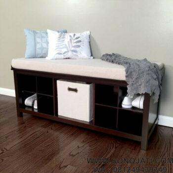 Bangku Teras Penyimpanan Solid Wood Shoe Storage