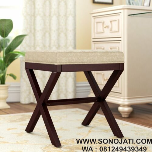 Kursi Rias Natural Milford Wood Vanity Stool