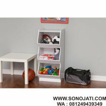 Lemari Mainan Anak Putih Tangga Toy Organizer