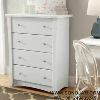 Lemari Pakaian Bayi Putih Crescent 4 Drawer