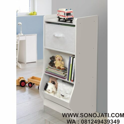 Lemari Tempat Mainan Anak Putih Loan Toy Organizer