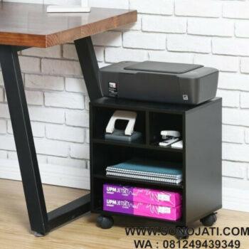 Meja Printer Hitam Minimalis with Wheels