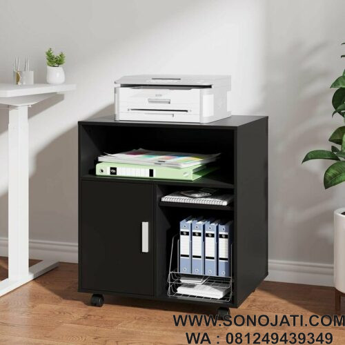 Meja Printer Hitam Stand Printer Mobile