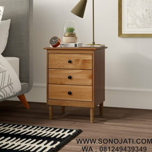 Nakas Minimalis Natural Lafever 3 Drawer Solid