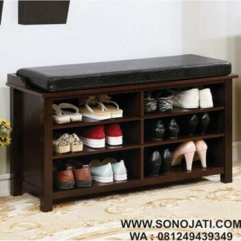 Rak Sepatu Minimalis Kayu Jati Natural Storage Bench