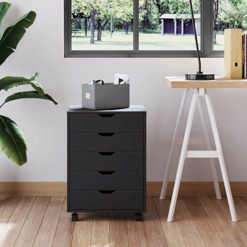 Graziani Wood Lemari Arsip Vertikal 5 Laci Mobile